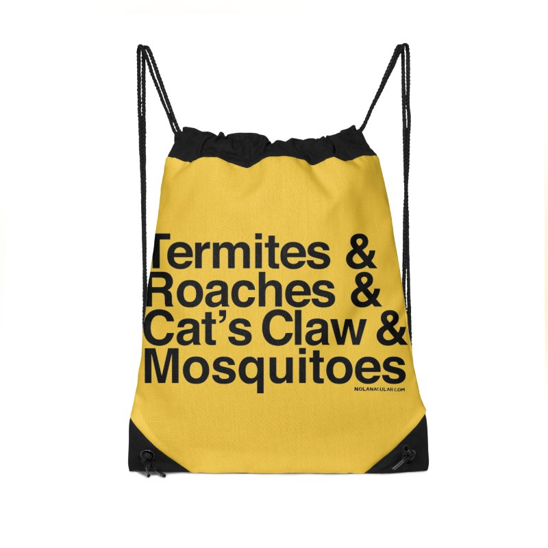 Pest and Invaders (black print) Accessories Drawstring Bag Bag by NOLA 'Nacular's Shop