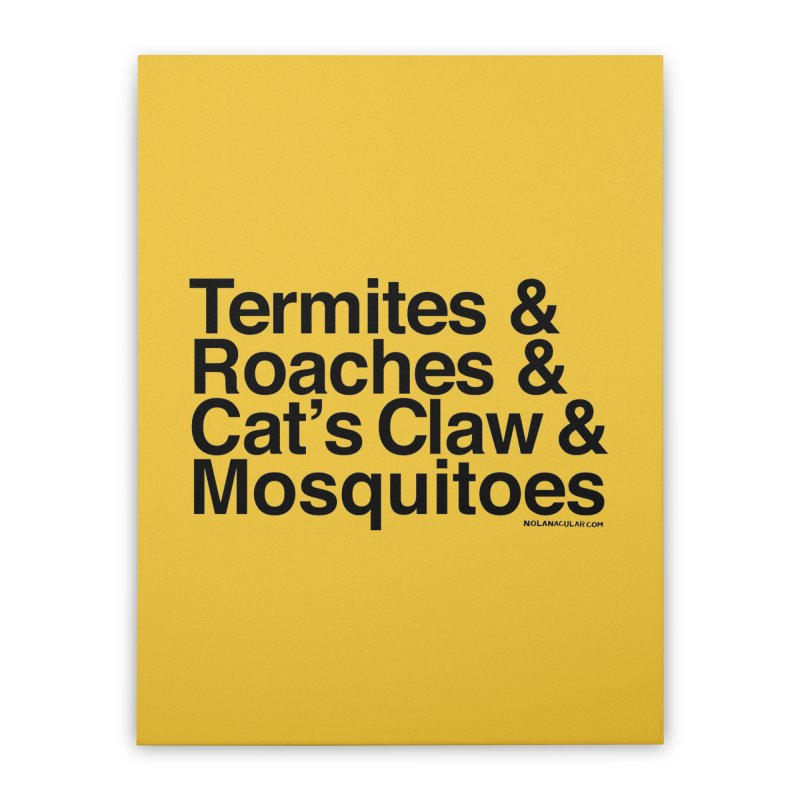 Pest and Invaders (black print) Home Stretched Canvas by NOLA 'Nacular's Shop