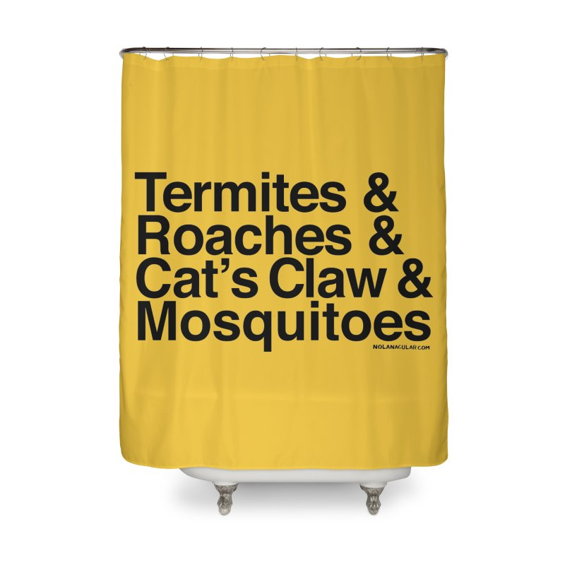 Pest and Invaders (black print) Home Shower Curtain by NOLA 'Nacular's Shop