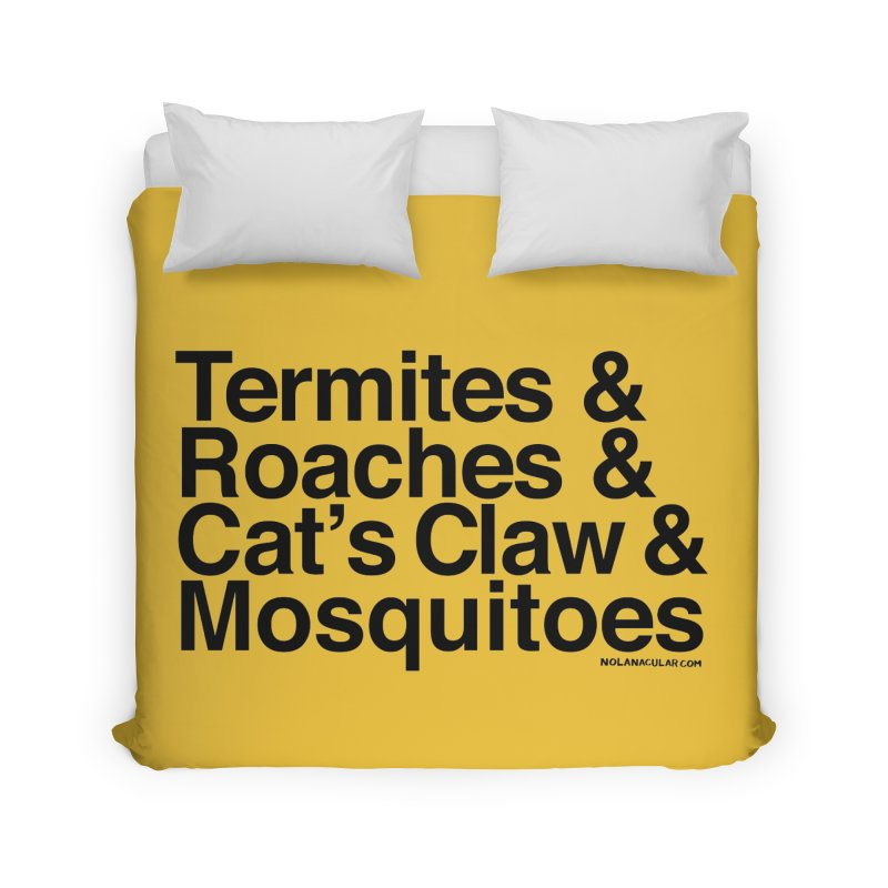 Pest and Invaders (black print) Home Duvet by NOLA 'Nacular's Shop