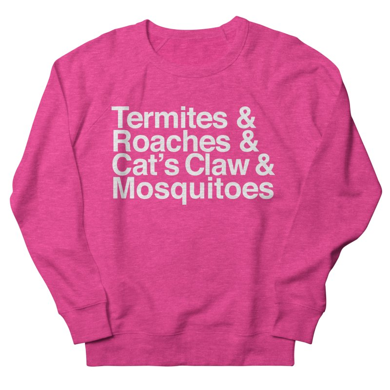 Pest and Invaders (white print) Women's French Terry Sweatshirt by NOLA 'Nacular's Shop