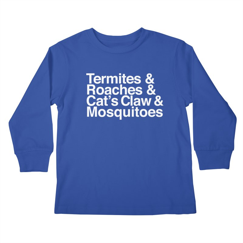 Pest and Invaders (white print) Kids Longsleeve T-Shirt by NOLA 'Nacular's Shop