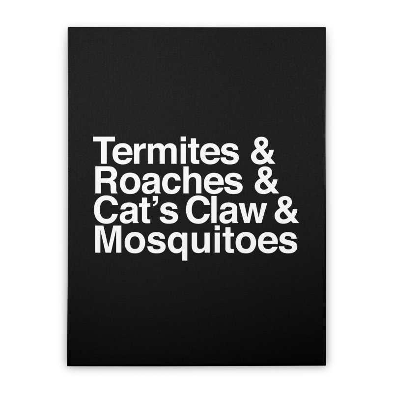 Pest and Invaders (white print) Home Stretched Canvas by NOLA 'Nacular's Shop