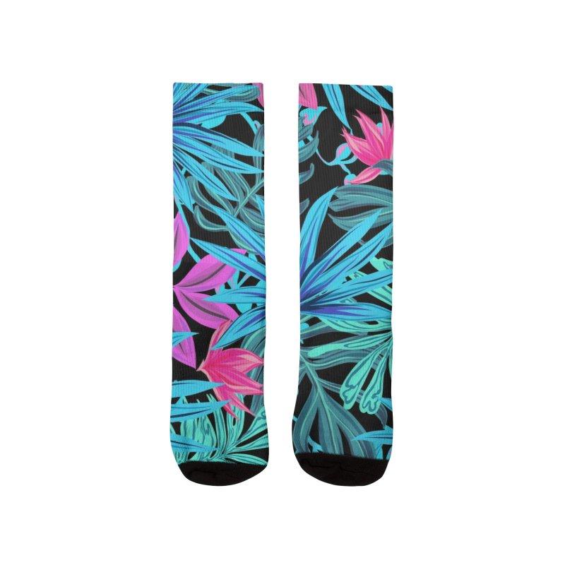 Ilustración de hojas tropicales multicolor Women's Socks by nomadfullprints Artist Shop
