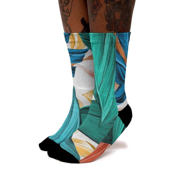 Ilustration tropical Leaves Women's Socks by nomadfullprints Artist Shop