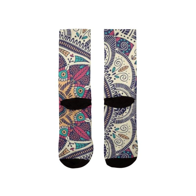Ilustración Mandala colores rojos, azules, turquesa Men's Socks by nomadfullprints Artist Shop