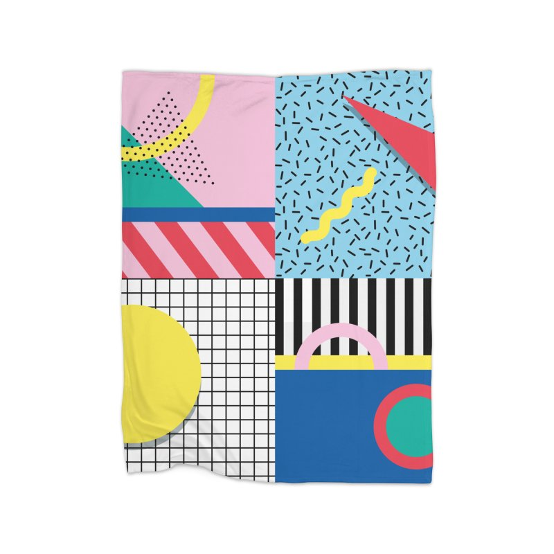 Memphis party Home Blanket by Nomad Unicorn