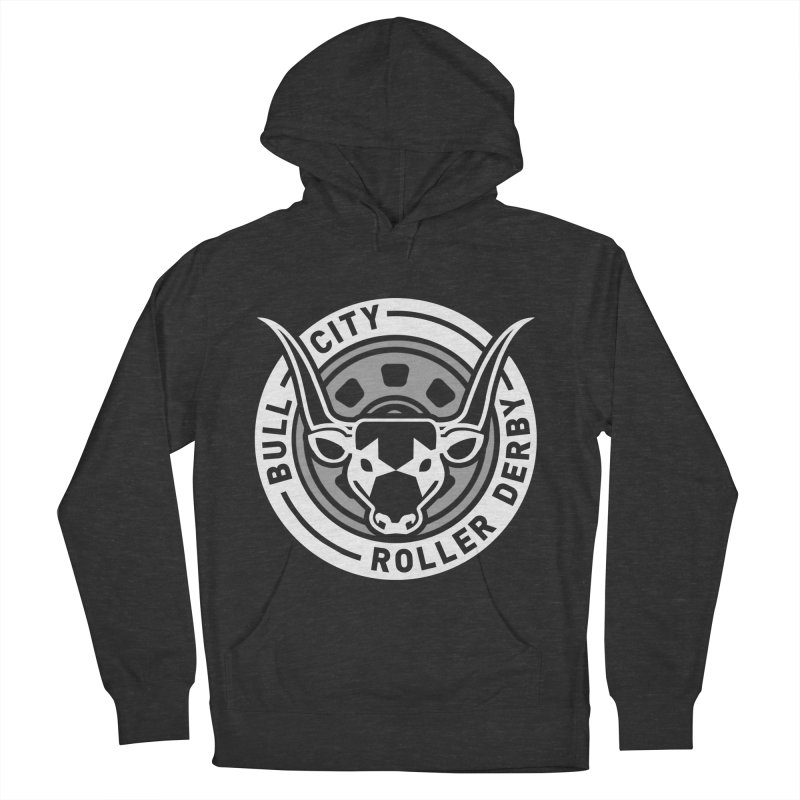 Wheel Badge Men's French Terry Pullover Hoody by Bull City Roller Derby Shop