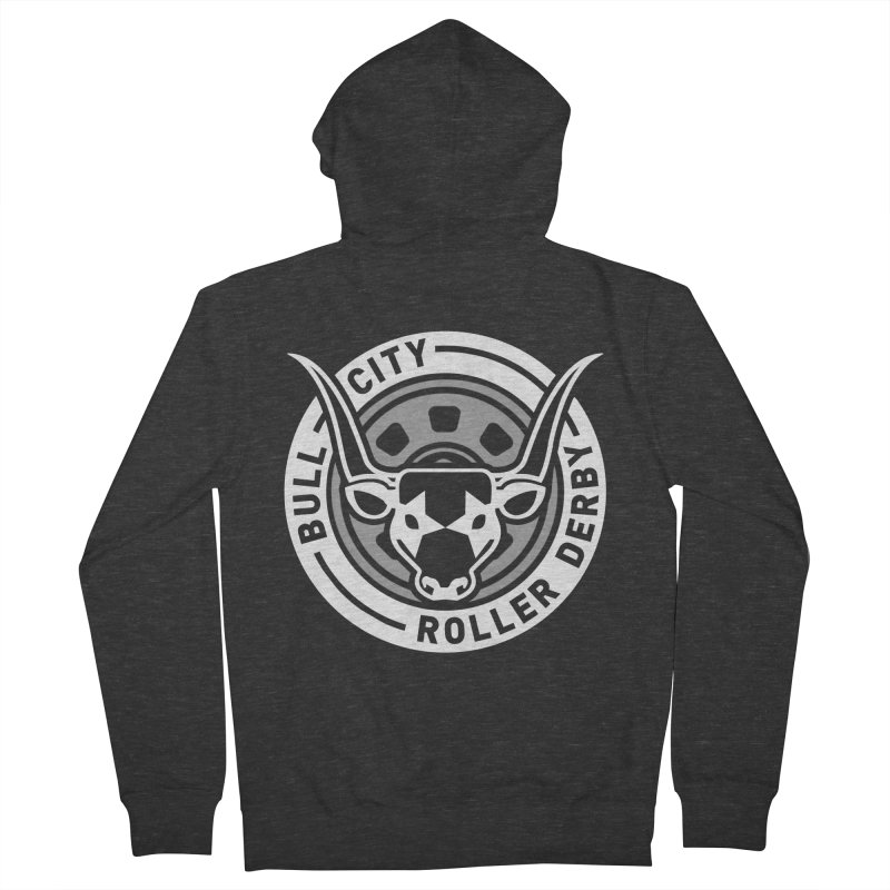 Wheel Badge Men's French Terry Zip-Up Hoody by Bull City Roller Derby Shop