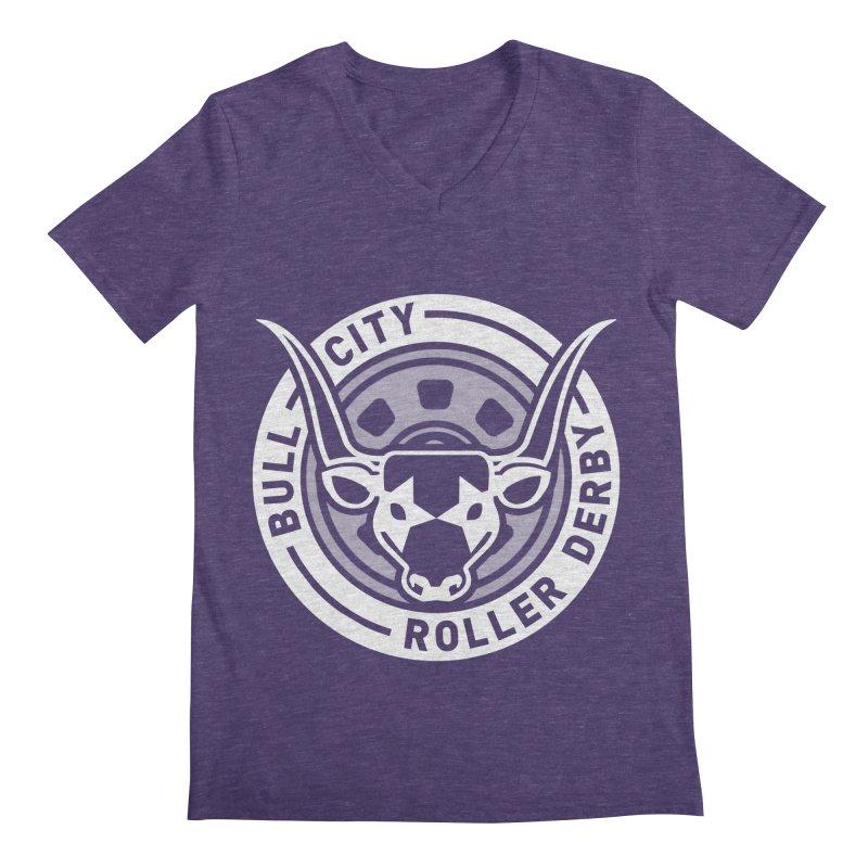 Wheel Badge Men's Regular V-Neck by Bull City Roller Derby Shop