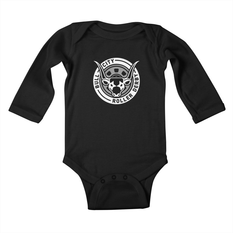 Wheel Badge Kids Baby Longsleeve Bodysuit by Bull City Roller Derby Shop