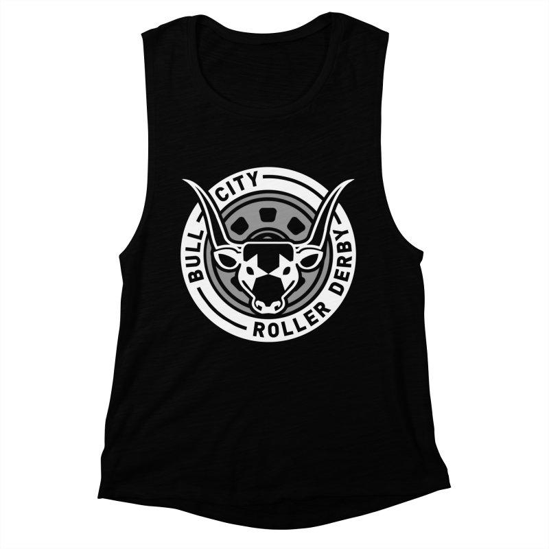 Wheel Badge Women's Muscle Tank by Bull City Roller Derby Shop