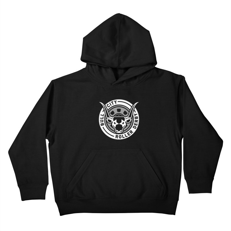 Wheel Badge Kids Pullover Hoody by Bull City Roller Derby Shop