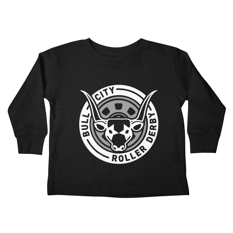 Wheel Badge Kids Toddler Longsleeve T-Shirt by Bull City Roller Derby Shop