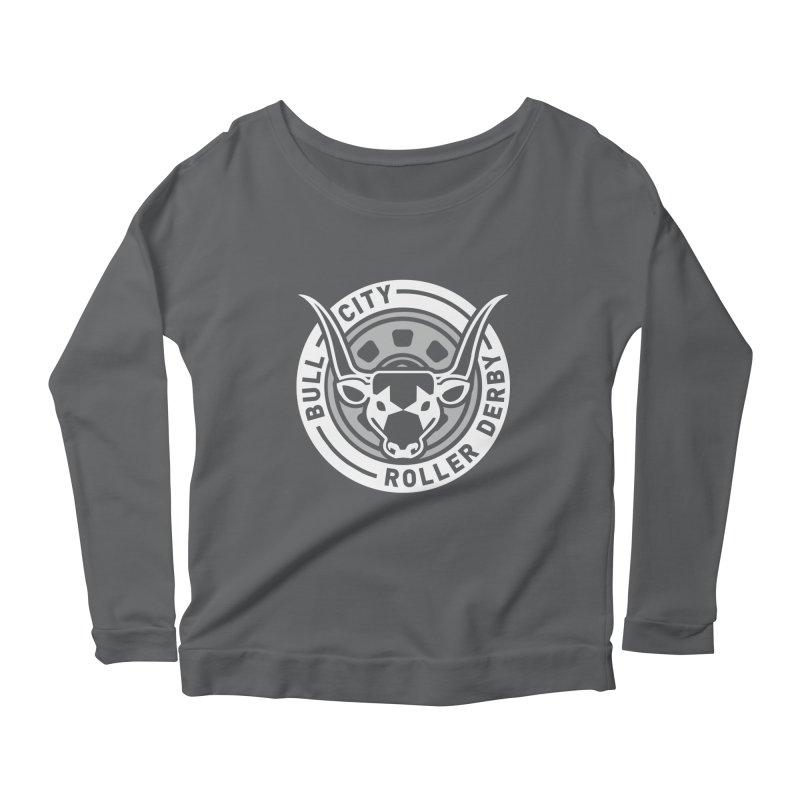 Wheel Badge Women's Scoop Neck Longsleeve T-Shirt by Bull City Roller Derby Shop