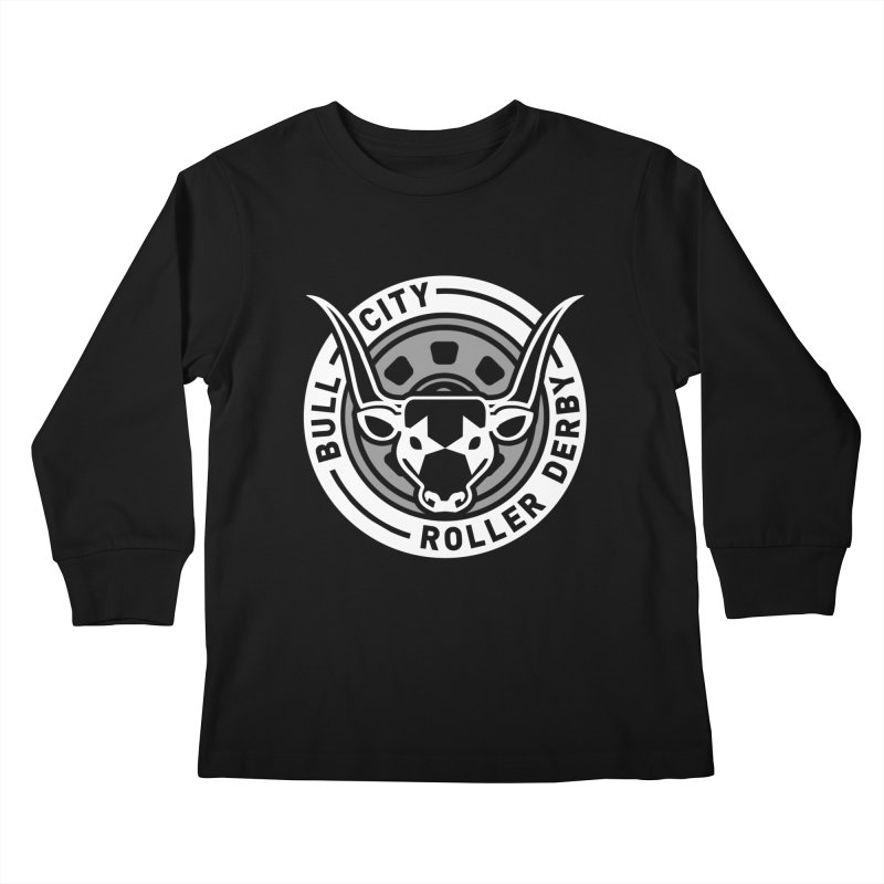 Wheel Badge Kids Longsleeve T-Shirt by Bull City Roller Derby Shop