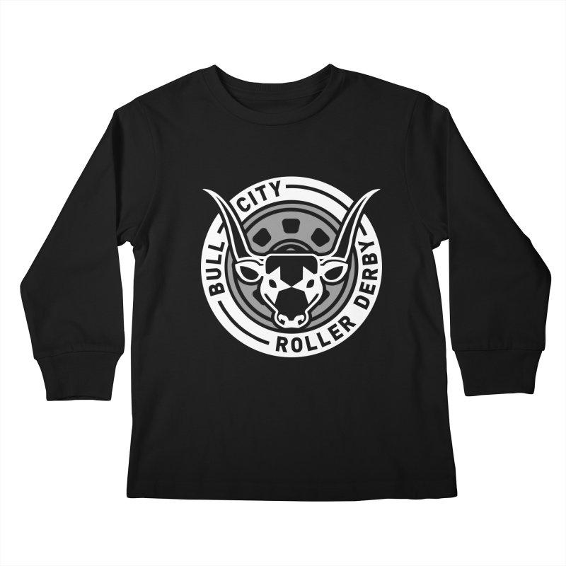 Wheel Badge Kids Longsleeve T-Shirt by Bull City Roller Derby Shop