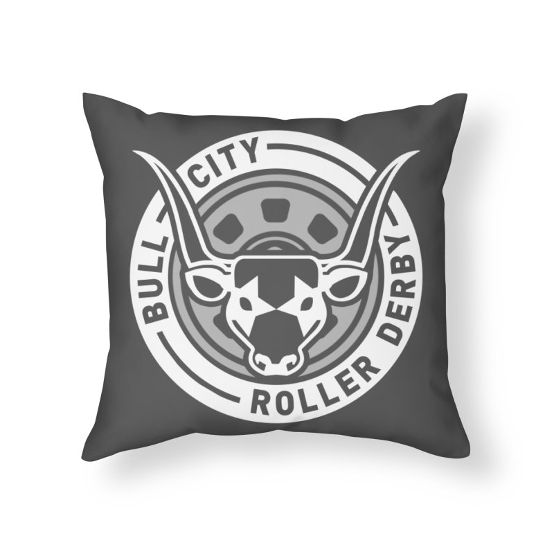 Wheel Badge Home Throw Pillow by Bull City Roller Derby Shop