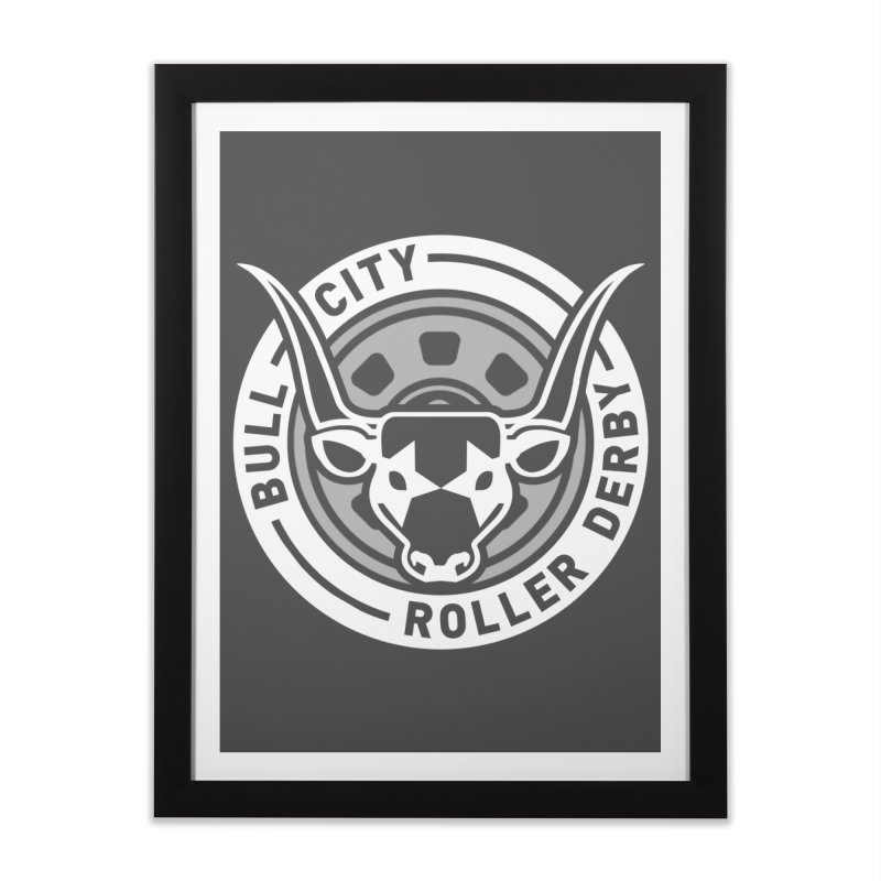 Wheel Badge Home Framed Fine Art Print by Bull City Roller Derby Shop