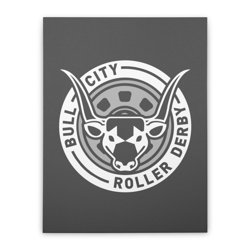 Wheel Badge Home Stretched Canvas by Bull City Roller Derby Shop