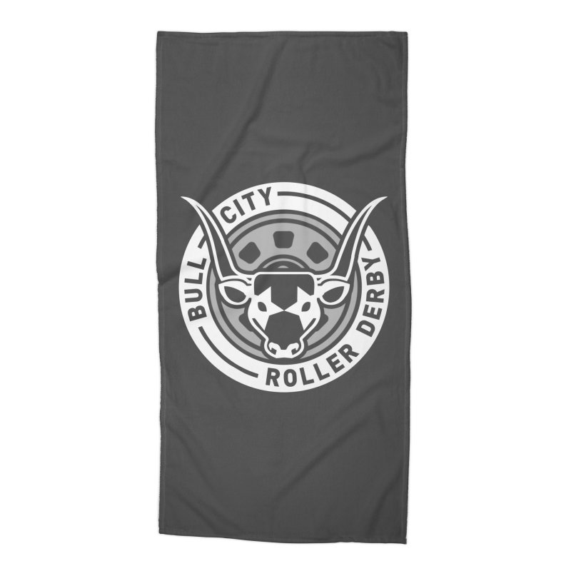 Wheel Badge Accessories Beach Towel by Bull City Roller Derby Shop