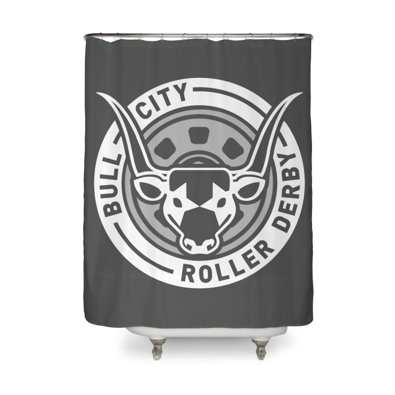 Wheel Badge Home Shower Curtain by Bull City Roller Derby Shop