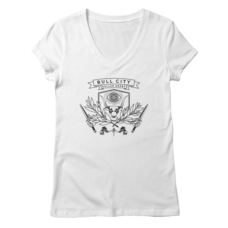 Bull City Roller Derby- Reverse Women's Regular V-Neck by Bull City Roller Derby Shop