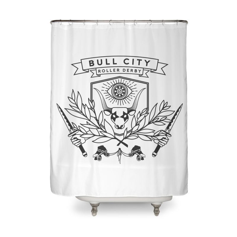 Bull City Roller Derby- Reverse Home Shower Curtain by Bull City Roller Derby Shop