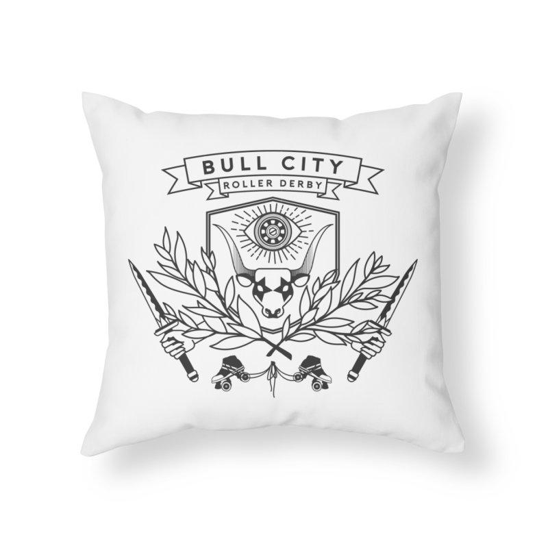 Bull City Roller Derby- Reverse Home Throw Pillow by Bull City Roller Derby Shop