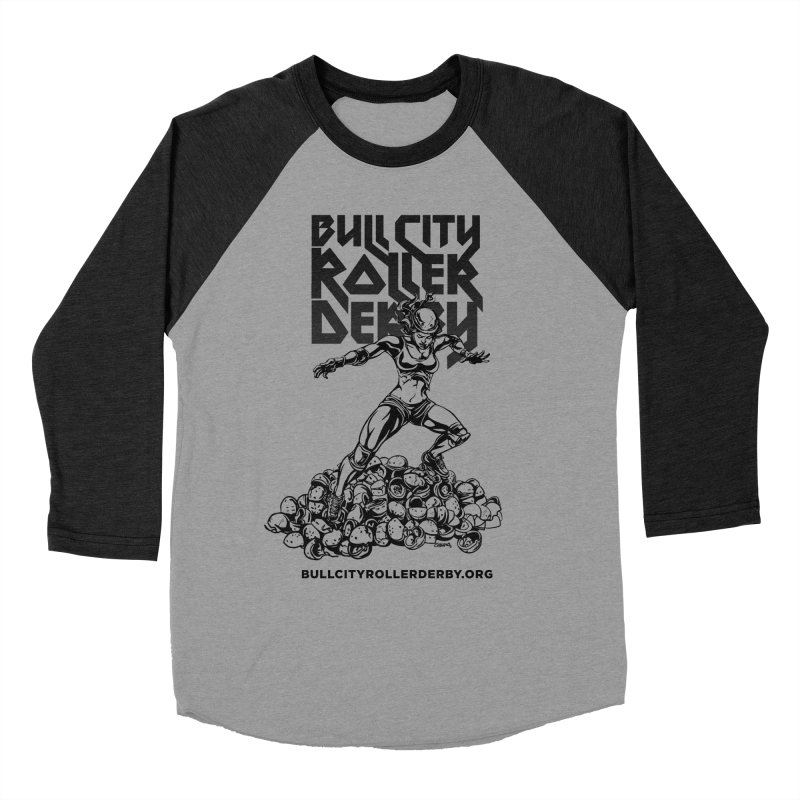 Bull City- HEAVY METAL Men's Baseball Triblend Longsleeve T-Shirt by Bull City Roller Derby Shop