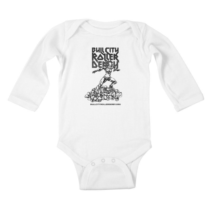 Bull City- HEAVY METAL Kids Baby Longsleeve Bodysuit by Bull City Roller Derby Shop