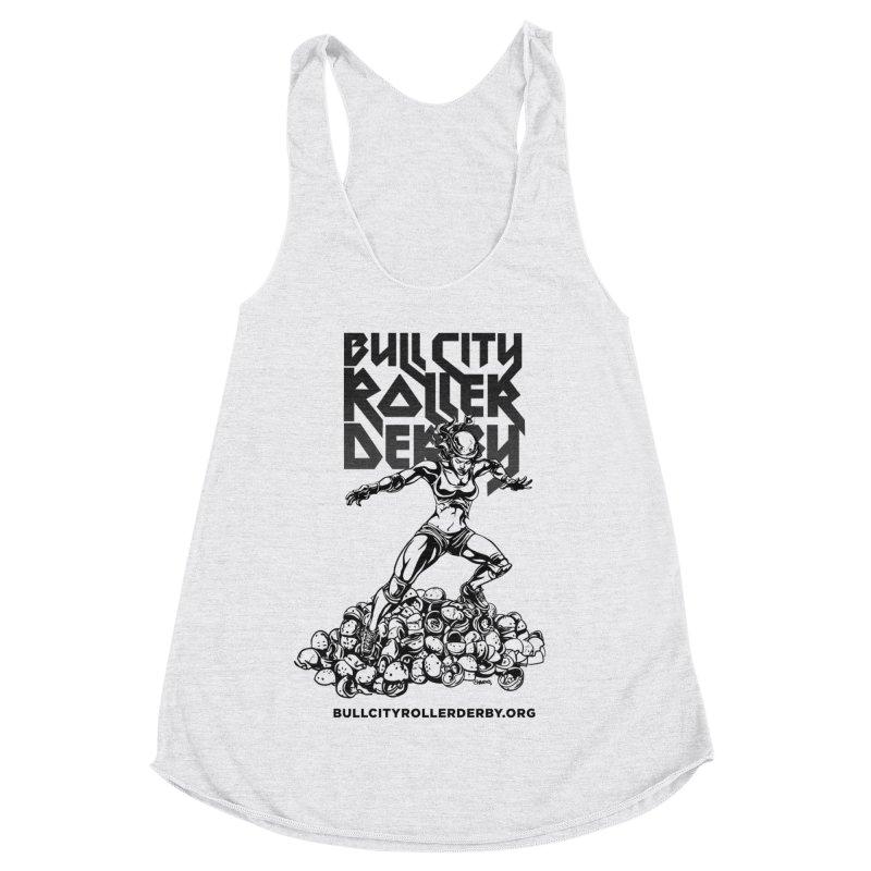 Bull City- HEAVY METAL Women's Racerback Triblend Tank by Bull City Roller Derby Shop