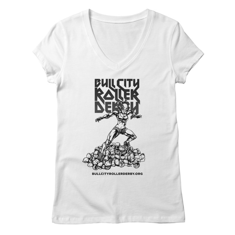 Bull City- HEAVY METAL Women's Regular V-Neck by Bull City Roller Derby Shop