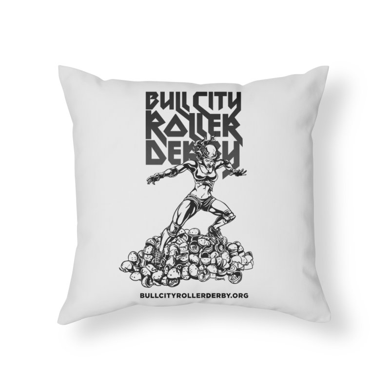 Bull City- HEAVY METAL Home Throw Pillow by Bull City Roller Derby Shop