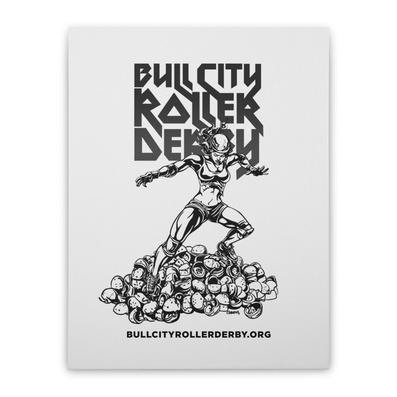 Bull City- HEAVY METAL Home Stretched Canvas by Bull City Roller Derby Shop