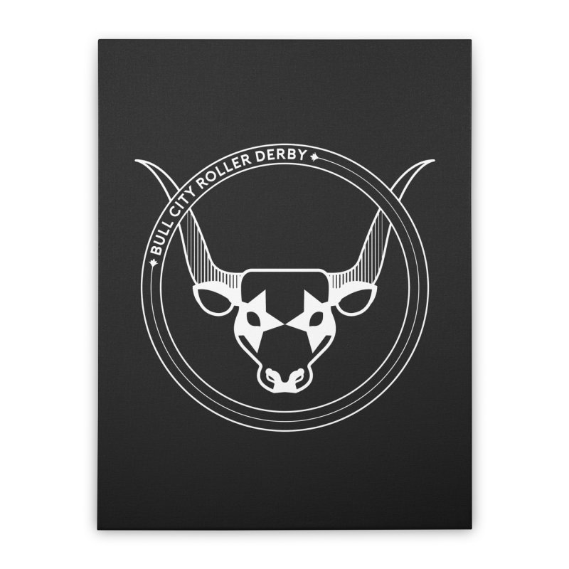 BCRD Badge Home Stretched Canvas by Bull City Roller Derby Shop