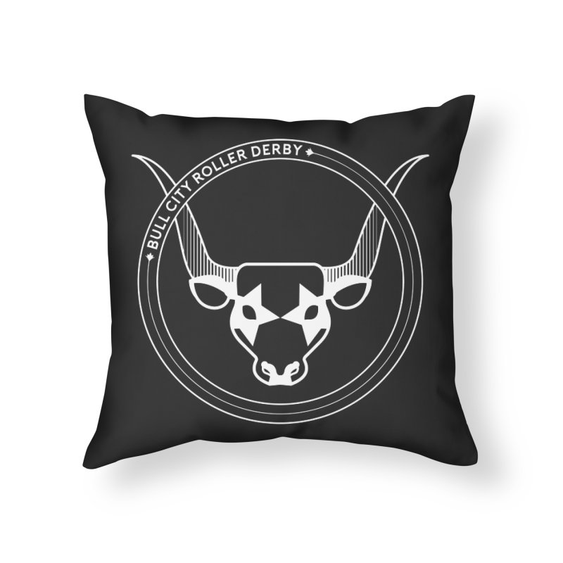 BCRD Badge Home Throw Pillow by Bull City Roller Derby Shop