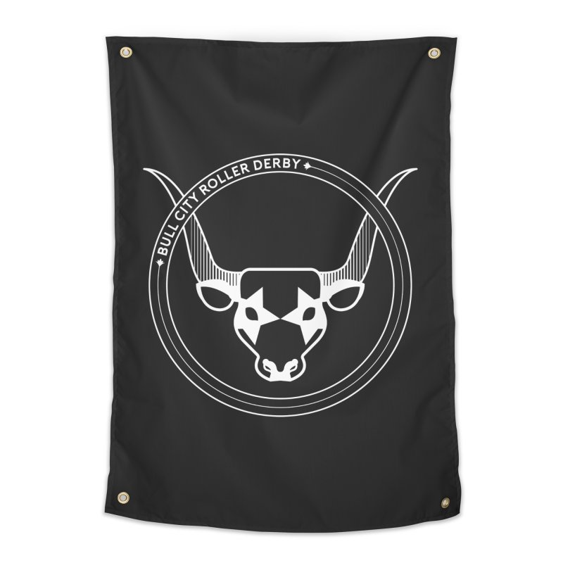 BCRD Badge Home Tapestry by Bull City Roller Derby Shop