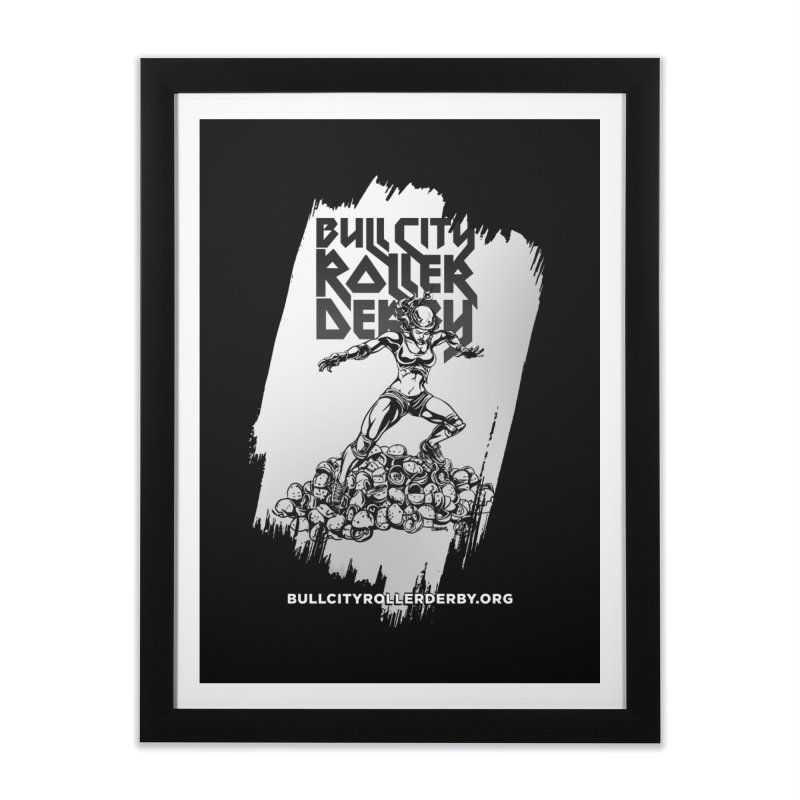 Bull City- HEAVY METAL Reverse Home Framed Fine Art Print by Bull City Roller Derby Shop