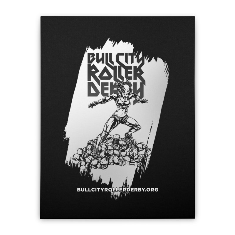 Bull City- HEAVY METAL Reverse Home Stretched Canvas by Bull City Roller Derby Shop