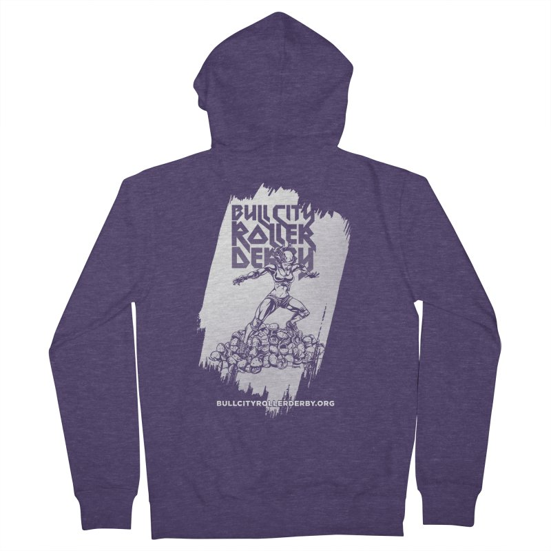 Bull City- HEAVY METAL Reverse Men's French Terry Zip-Up Hoody by Bull City Roller Derby Shop