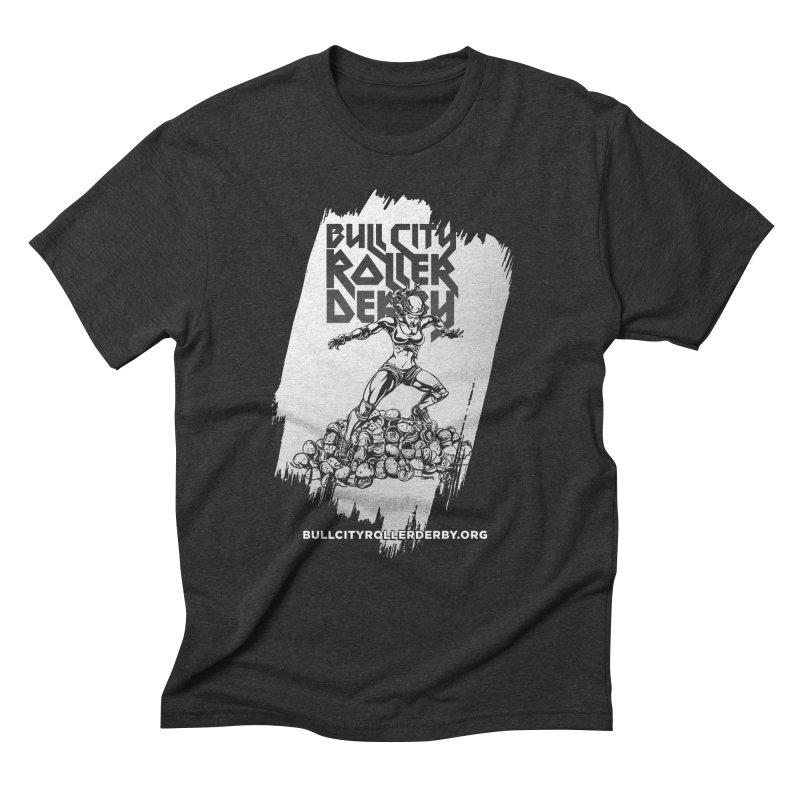 Bull City- HEAVY METAL Reverse Men's Triblend T-Shirt by Bull City Roller Derby Shop