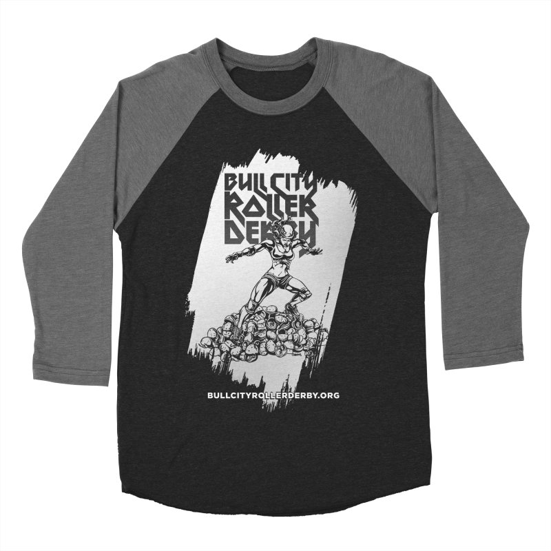 Bull City- HEAVY METAL Reverse Men's Baseball Triblend Longsleeve T-Shirt by Bull City Roller Derby Shop