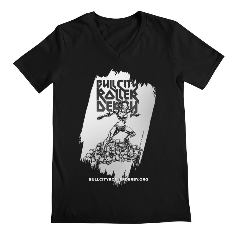 Bull City- HEAVY METAL Reverse Men's Regular V-Neck by Bull City Roller Derby Shop