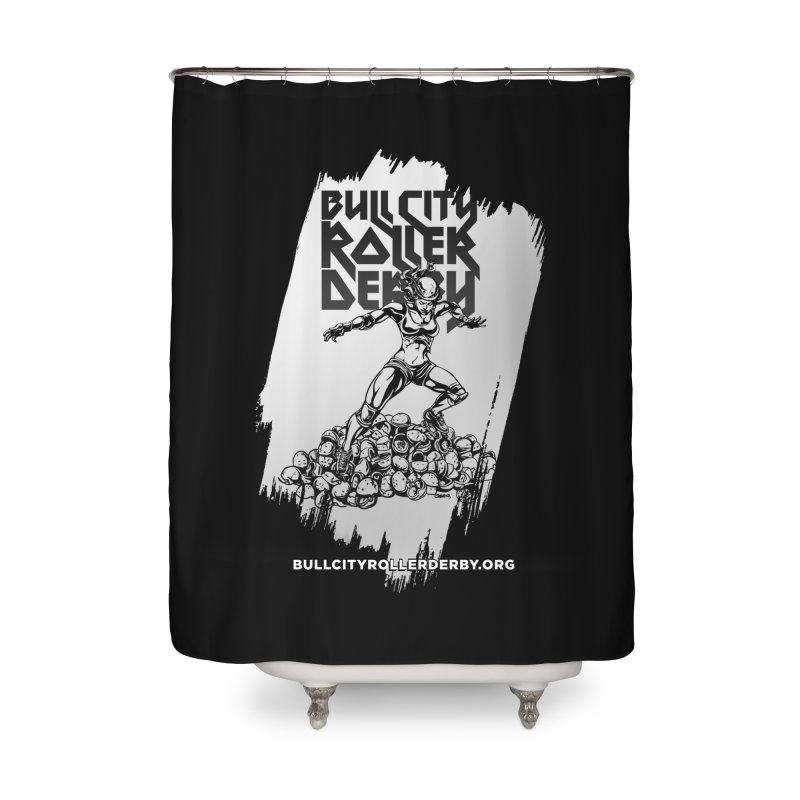 Bull City- HEAVY METAL Reverse Home Shower Curtain by Bull City Roller Derby Shop