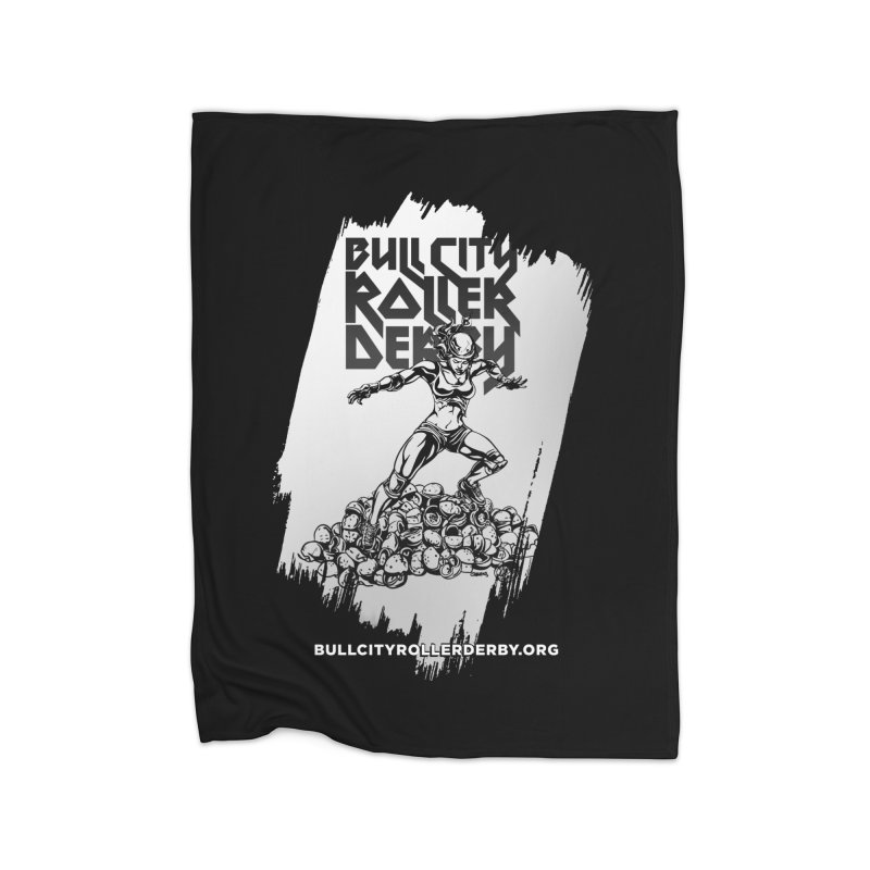 Bull City- HEAVY METAL Reverse Home Fleece Blanket Blanket by Bull City Roller Derby Shop