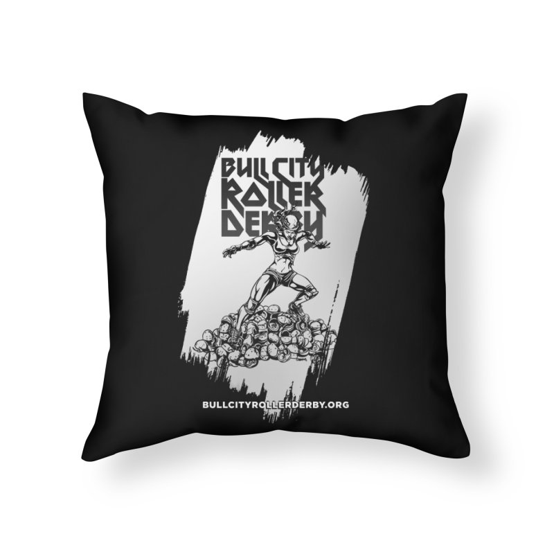 Bull City- HEAVY METAL Reverse Home Throw Pillow by Bull City Roller Derby Shop