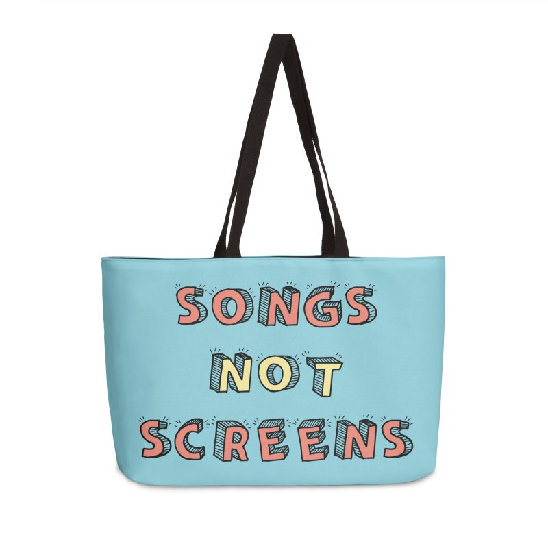 Songs Not Screens Accessories Weekender Bag Bag by Noodle Loaf - An Interactive Music Themed Podcast