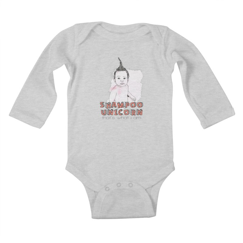 Shampoo Unicorn Kids Baby Longsleeve Bodysuit by Noodle Loaf - An Interactive Music Themed Podcast