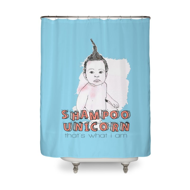 Shampoo Unicorn Home Shower Curtain by Noodle Loaf - An Interactive Music Themed Podcast